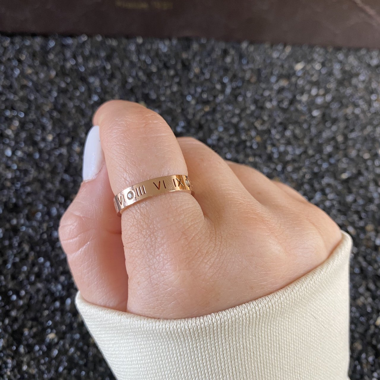 Women's Roman Numerals Rose Gold Diamond Ring - Vintique Clothing