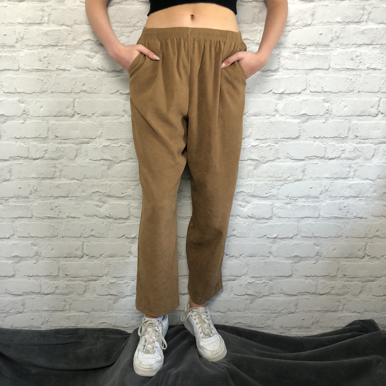 Ladies Vintage Lightweight Relaxed Trousers Faux Suede, Tan - Small - Vintique Clothing