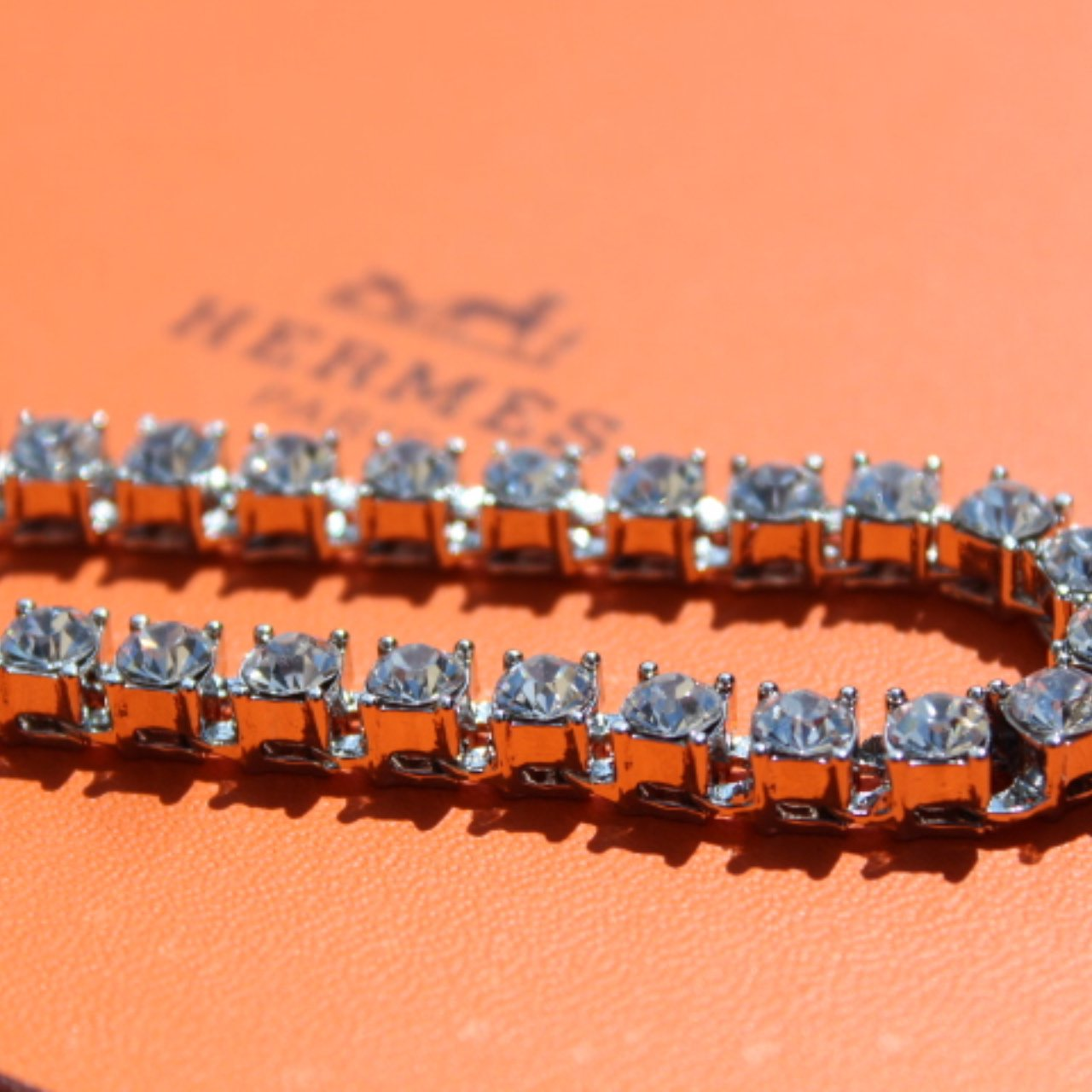 Iced Out Silver Tennis Bracelet - 6mm Crystals - Vintique Clothing
