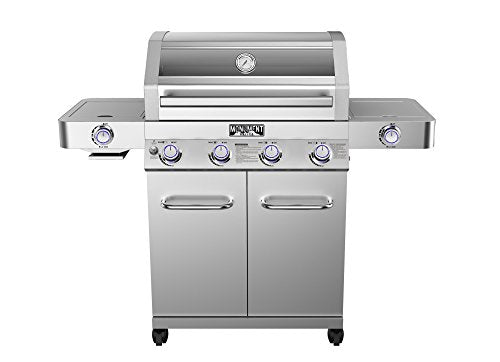 Monument Grills 35633 Stainless Steel 4 Burner Propane Gas Grill with Clearview Lid,Side Burner,Side Sear Burner