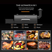 Z GRILLS ZPG-550B 2020 Upgrade Wood Pellet Grill & Smoker, 6 in 1 BBQ Grill Auto Temperature Control, 550 sq in Black