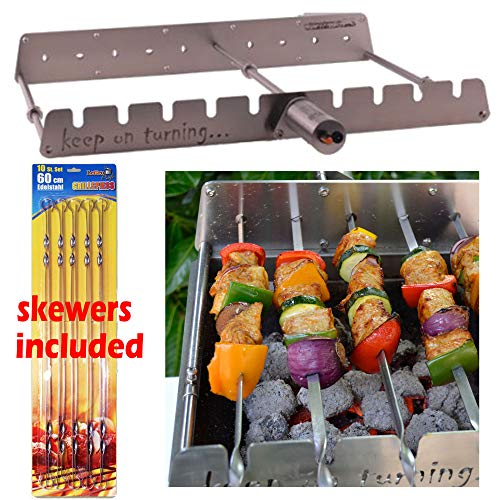 Keep on Turning 9 Skewer Automatic Rotating Rotisserie Grill Rack Accessory Attachment for Gas Grills Stainless Steel incl. 10 Skewers