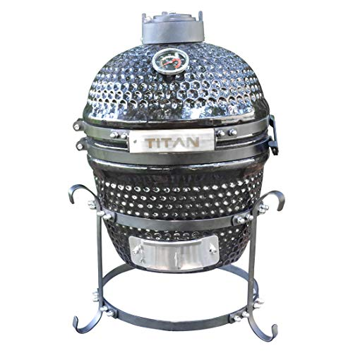 Titan Great Outdoors 10-Inch Kamado Ceramic Tabletop Charcoal Grill UFO