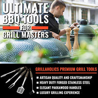 Grillaholics Premium BBQ Grill Tools - Luxury 4-Piece Barbecue Utensils Grill Set - Wooden Gift Box Includes Barbeque Tongs, Meat Fork, Grill Spatula & Basting Brush - Lifetime Manufacturers Warranty