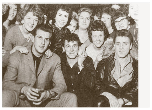 Eddie Cochran (front right) meets fans from The Star's Teenage Club with Gene Vincent (front middle) and Vince Eager (front left)