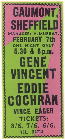 Advert for Eddie Cochran and Gene Vincent at Sheffield Gaumont in February 1960