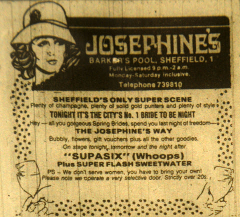 Advert for Josephine's in Sheffield