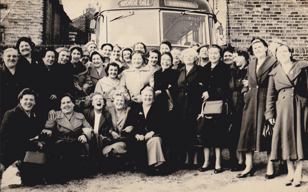 Ladies ready to board coach in the late 1950s