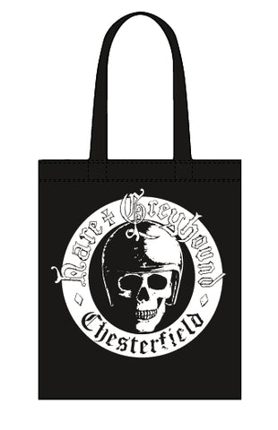 Hare & Greyhound skull canvas tote bag