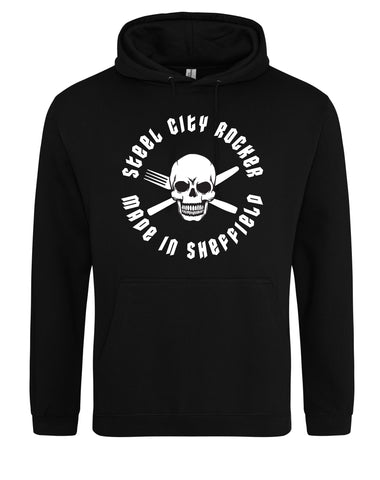 Steel City Rocker - skull and cross-cutlery design - unisex fit hoodie - various colours
