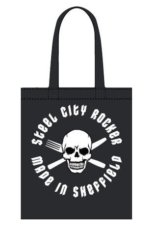 Steel City Rocker - skull and cross-cutlery - canvas tote bag