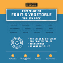 Load image into Gallery viewer, Freeze-Dried Fruit & Vegetable Variety Pack (366 Servings)