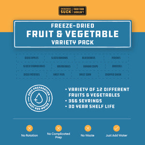 Freeze-Dried Fruit & Vegetable Variety Pack (366 Servings)