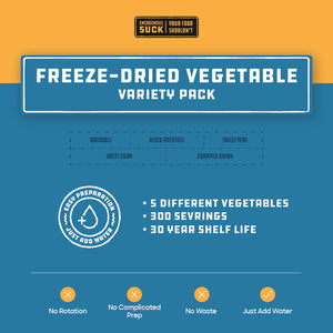 Freeze-Dried Vegetable Variety Pack (356 Servings)