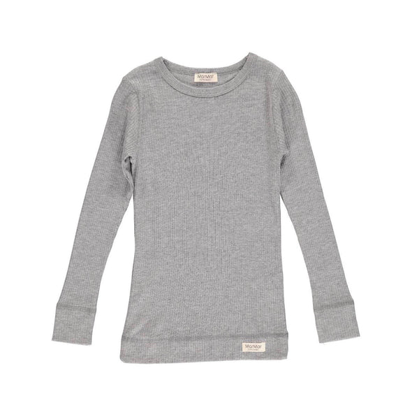 PLAIN TEE LS, T-SHIRT GREY MEALANGE