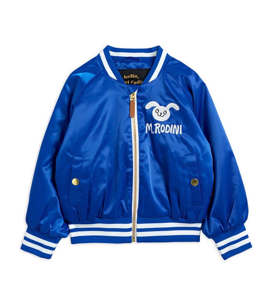 SATIN BASEBALL JACKET, BLUE