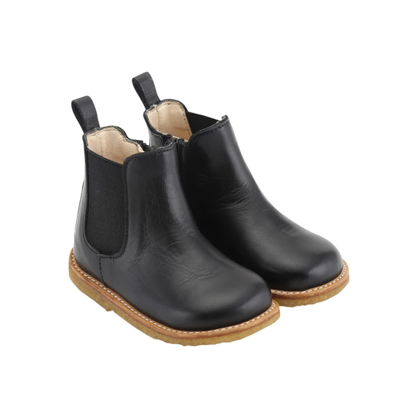 STARTER CHELSEA BOOT WITH ELASTIC AND ZIPPER, BLACK