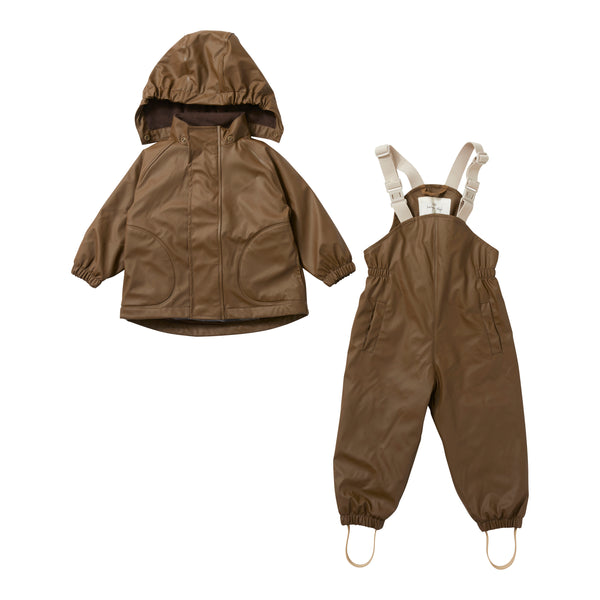 PALME RAINWEAR SET, FLEECE, WALNUT