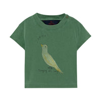 ROOSTER BABY T-SHIRT, GREEN BIRD