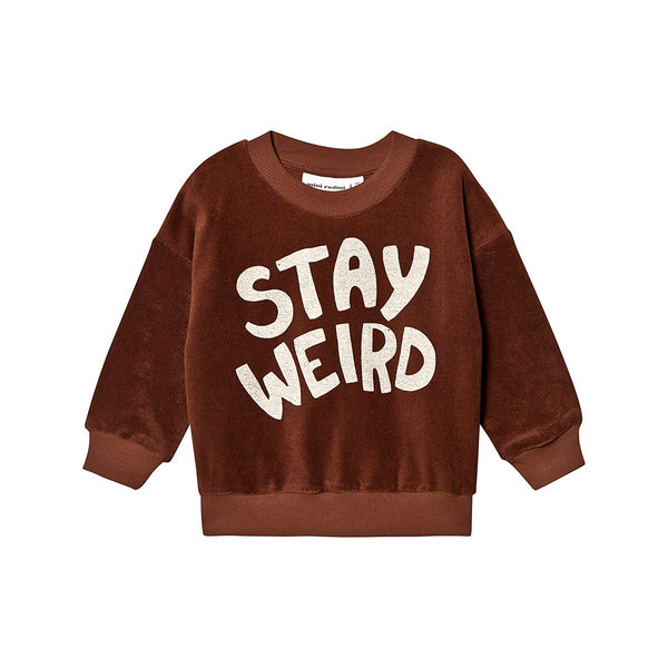 STAY WEIRD TERRY SWETSHIRT, BROWN