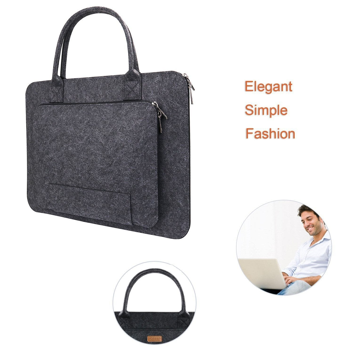 11/13/15.6/17 Inch Laptop Bag, Felt Laptop Sleeve Notebook Computer Case Carrying Bag Pouch with Handle for  Asus / Lenovo - GreatEagleInc