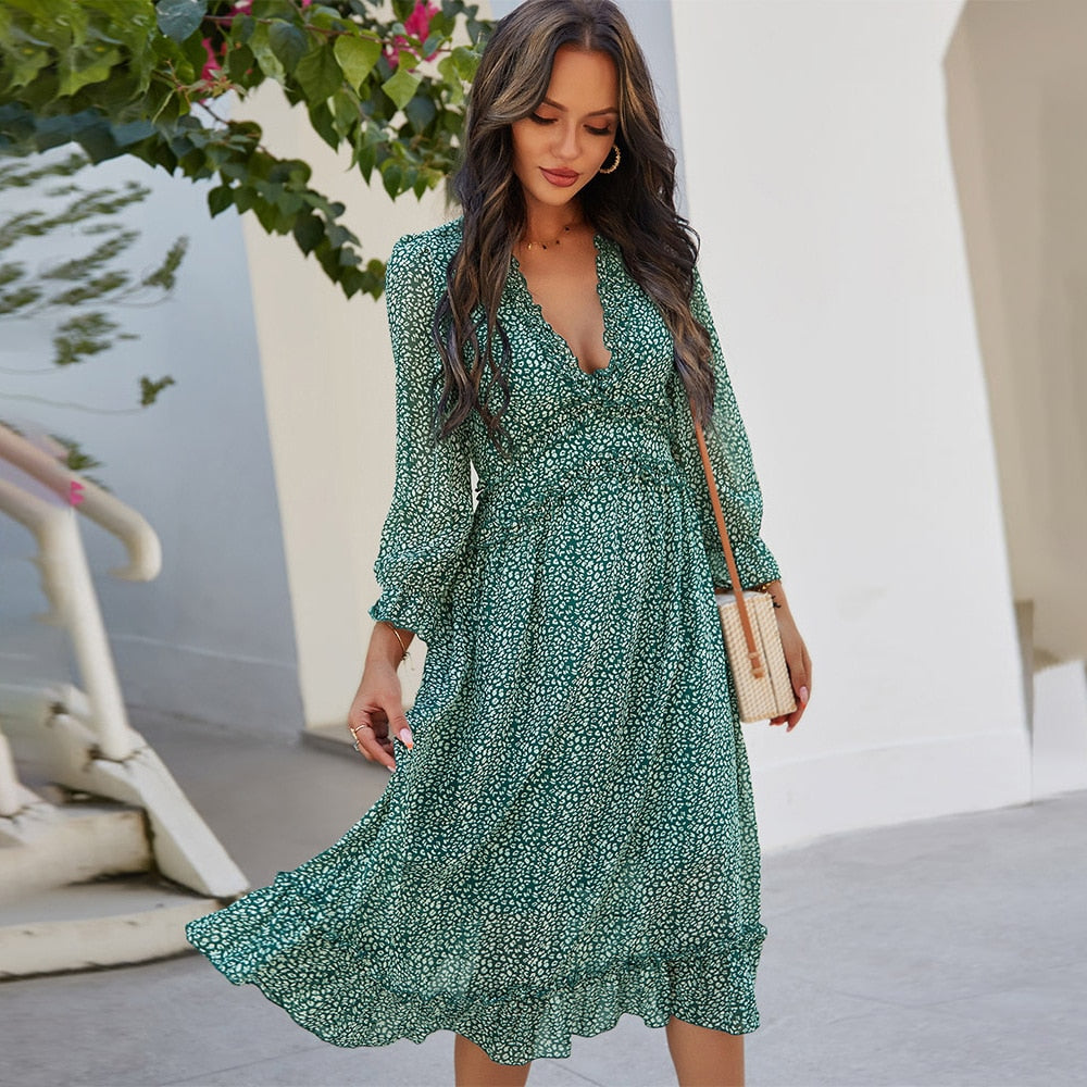 Deenor Summer dress V-Neck Floral Print Boho Style Beach Dresses Fashion robe Polka Dot A-line Party Dress outfits for women freeshipping - GreatEagleInc