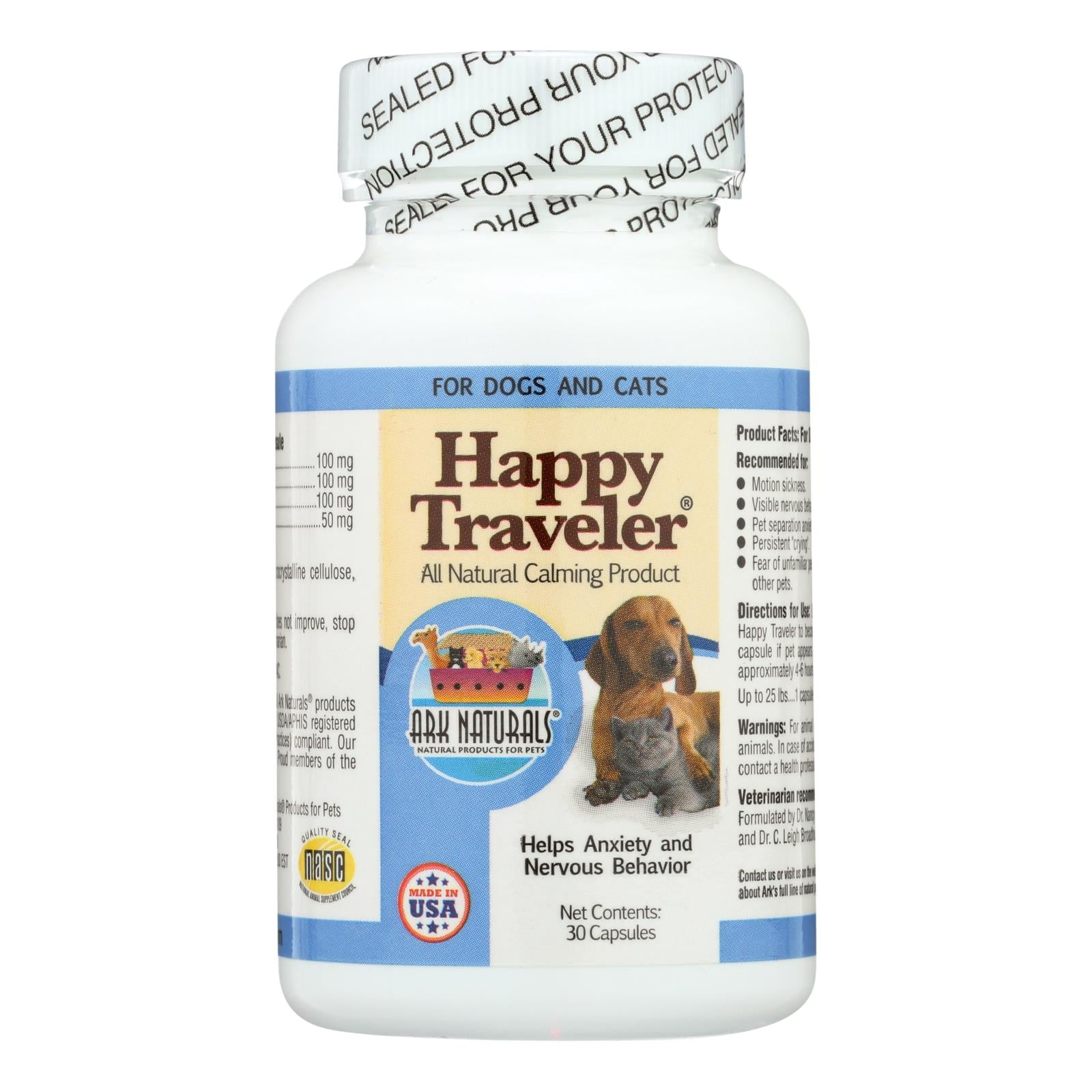 Ark Naturals Happy Traveler For Dogs And Cats - 30 Capsules freeshipping - GreatEagleInc