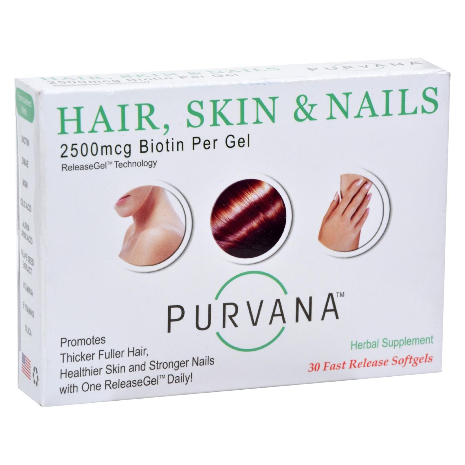 Heaven Sent Purvana Hair Skin Nails - 2500 Mcg - 30 Softgels freeshipping - GreatEagleInc