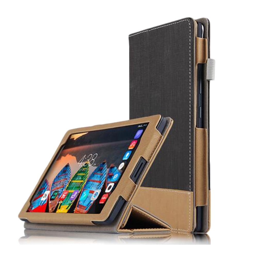 Canvas Grain Tri-foldable PU Tablet Case Auto Sleep / Wake Up Function Stand Design for Lenovo P8 - GreatEagleInc