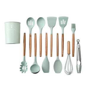 Household Silicone Wooden Cooking Utensil Kitchen Accessories Set - GreatEagleInc