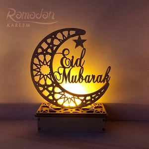 Ramadan Eid Mubarak Decorations for Home Moon LED Candles Light Wooden Plaque Hanging Pendant Islam Muslim Event Party Supplies - GreatEagleInc