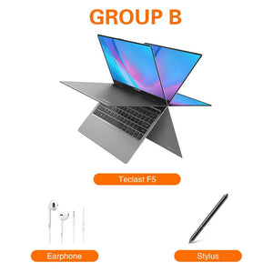 Teclast F5 Laptop Windows 8GB RAM 256GB SSD Intel Gemini Lake N4100 1920*1080 Quick Charge 360 Rotating Touch Screen Notebook PC - GreatEagleInc