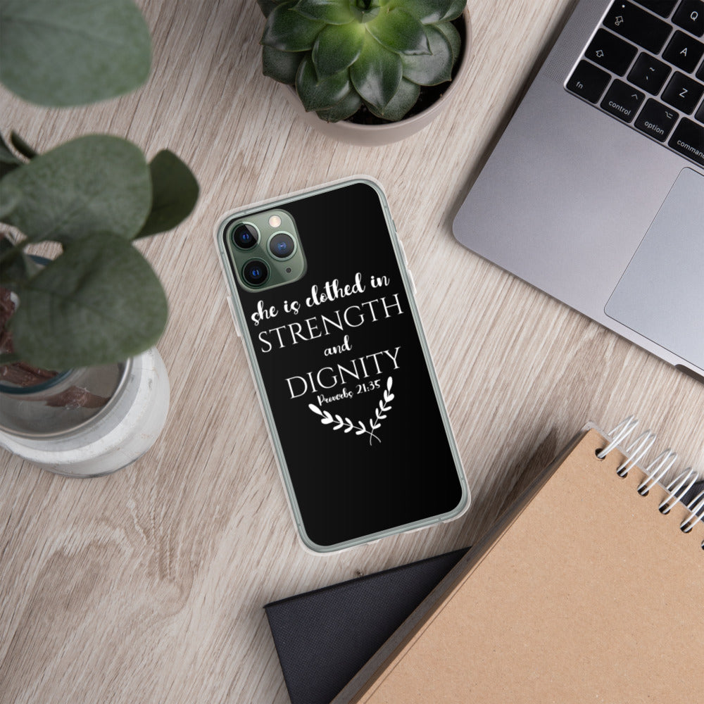 """She Is Clothed In Strength And Dignity"" iPhone Case"