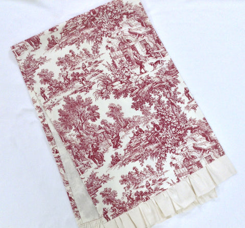 Maroon & Off White Toile/Ruffled