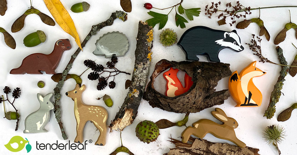 A woodland walk with the kids featuring our sustainable wooden toy animals
