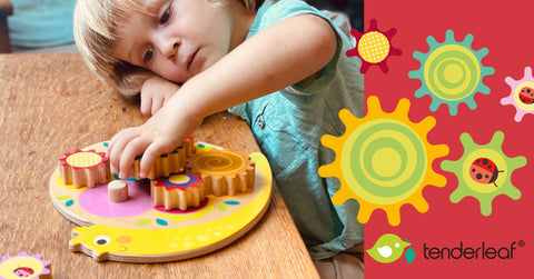 Sustainable wooden snail toy with cogs and gears perfect for cognitive development