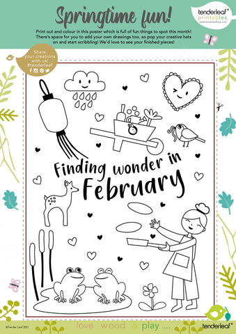 free february printable colouring in activity for children