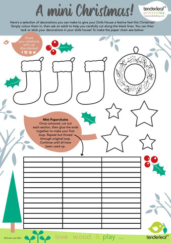 printable download christmas craft for dolls house