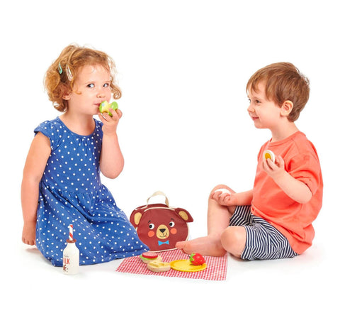 picnic toy wooden fabric children play set