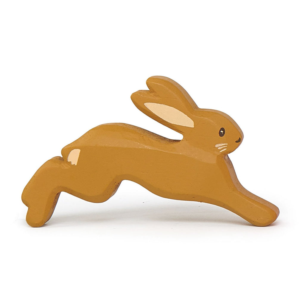 Tender Leaf wooden hare toy in brown