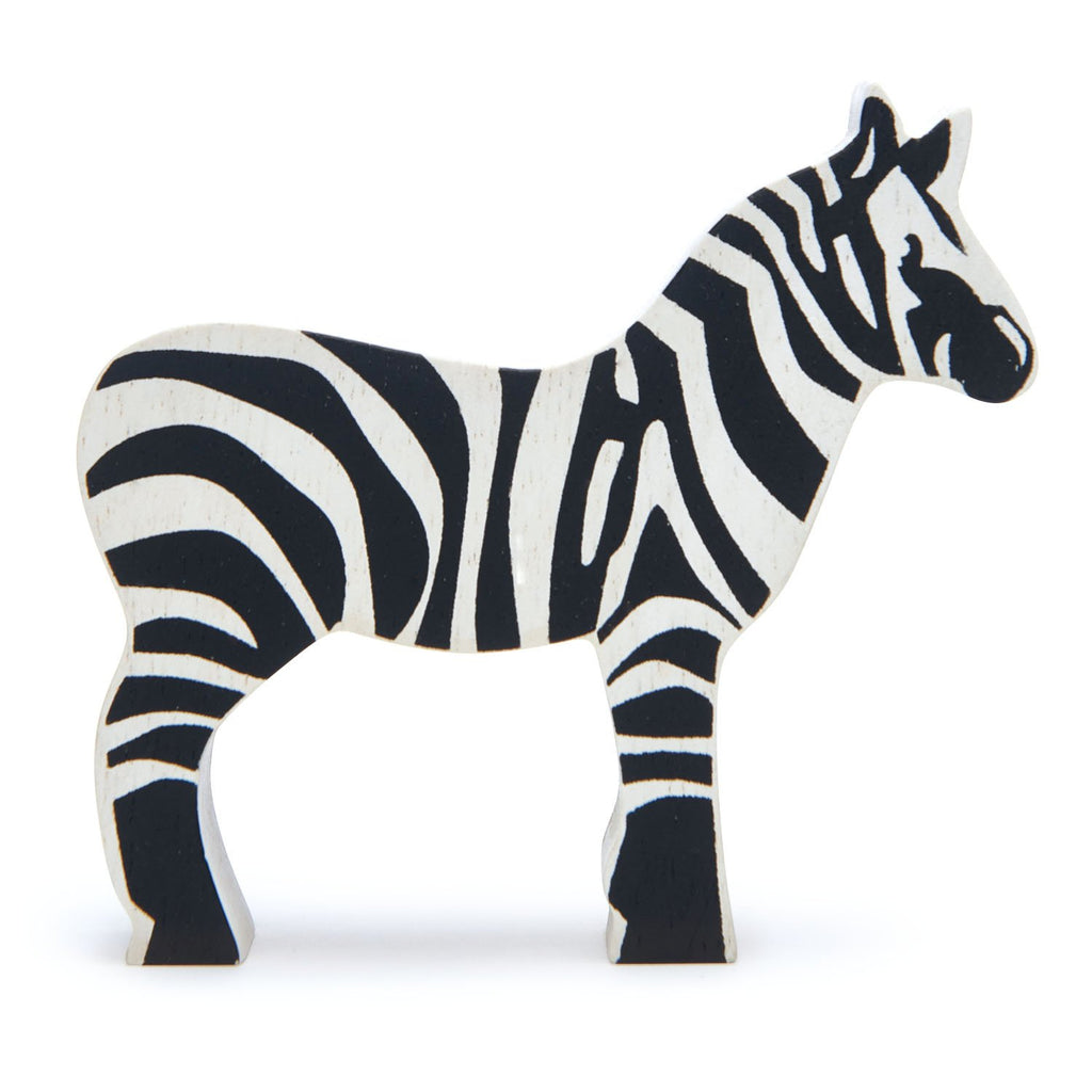 Tender Leaf wooden zebra toy in black and white stripe