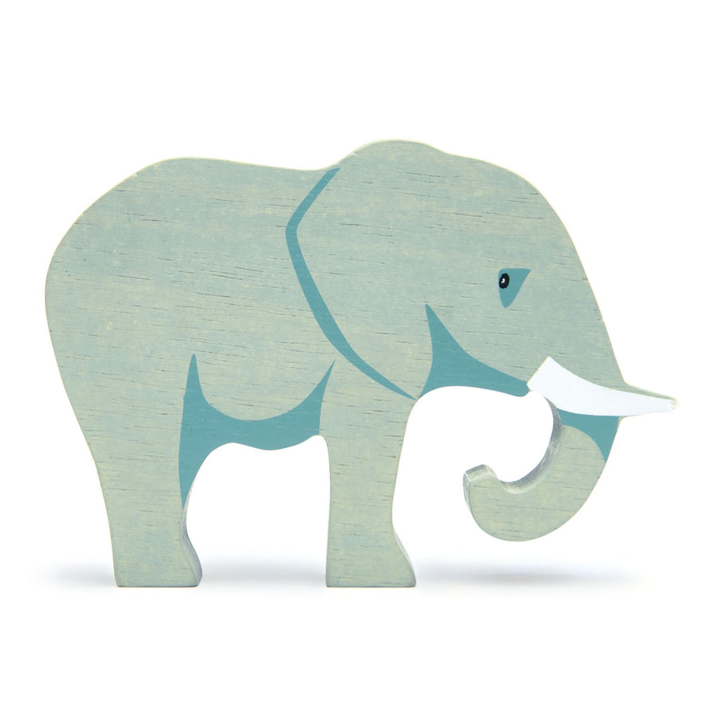 Tender Leaf wooden elephant toy in blue grey