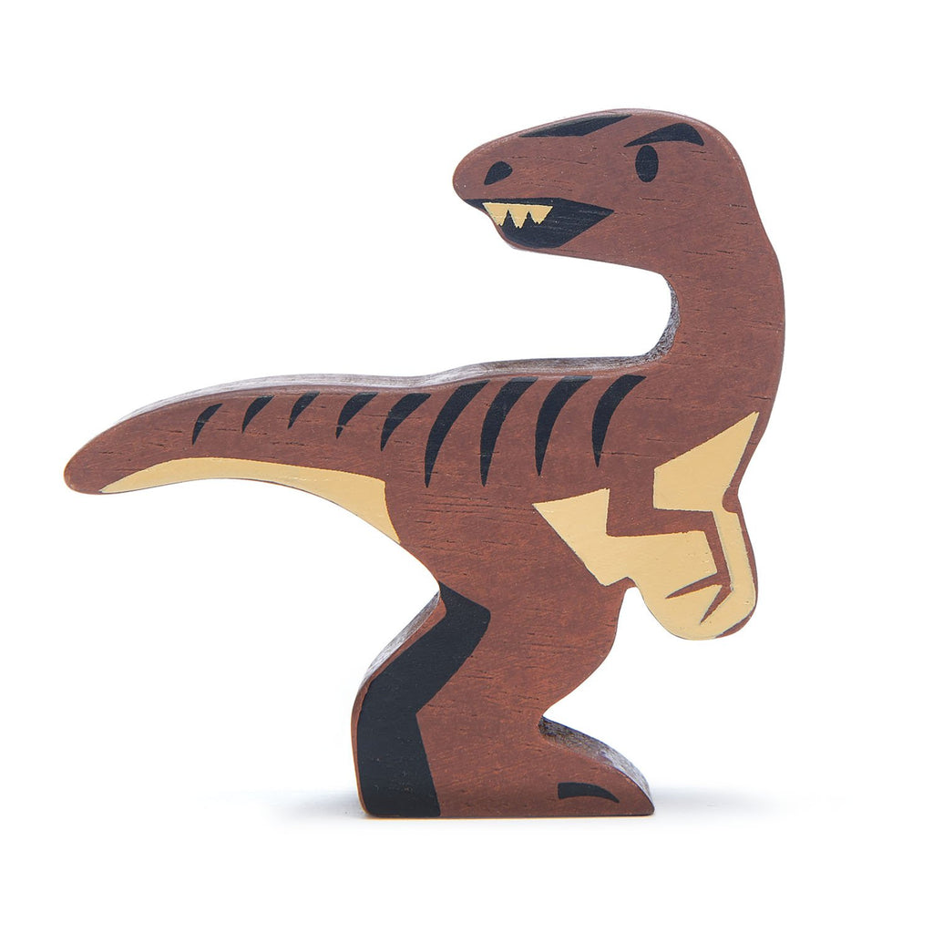Tender Leaf wooden toys dinosaur Velociraptor in brown