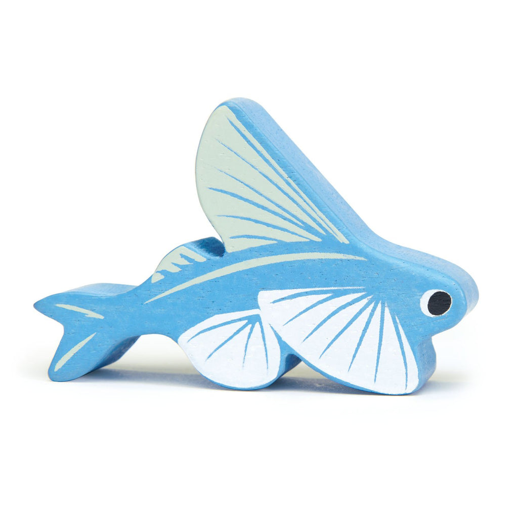 Tender Leaf wooden flying fish animal toy in blue