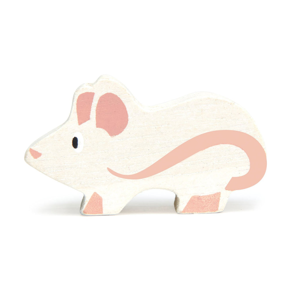 Tender Leaf wooden mouse toy in white