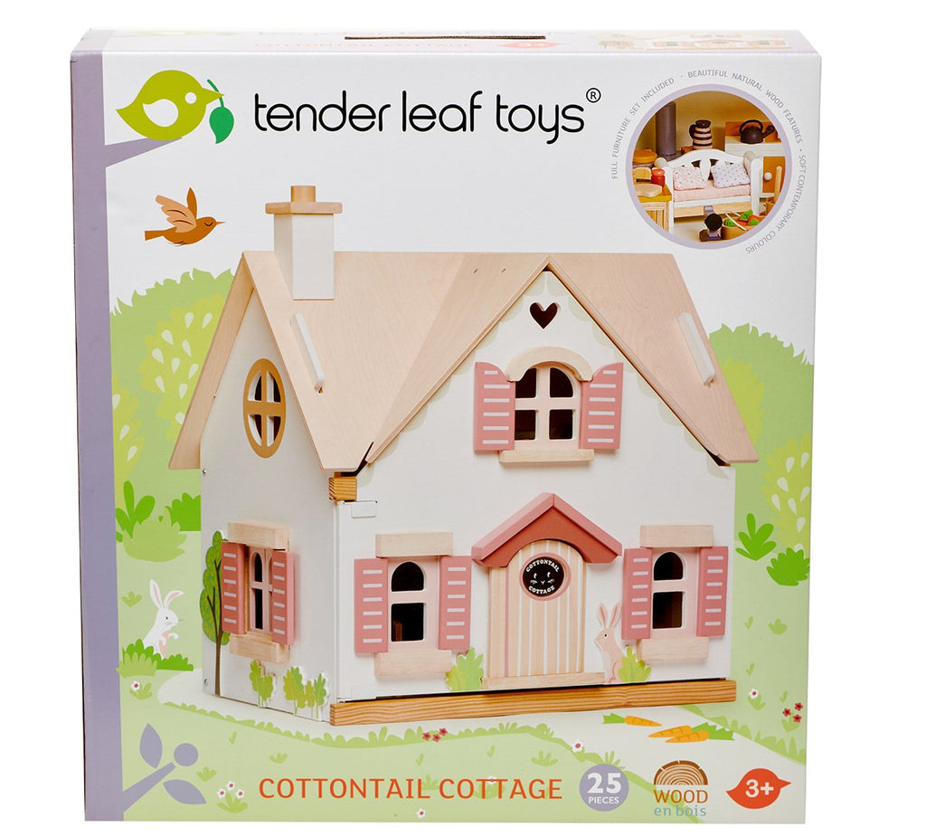 Tender Leaf wooden toy dolls house cottontail cottage with pink and white windows and doors