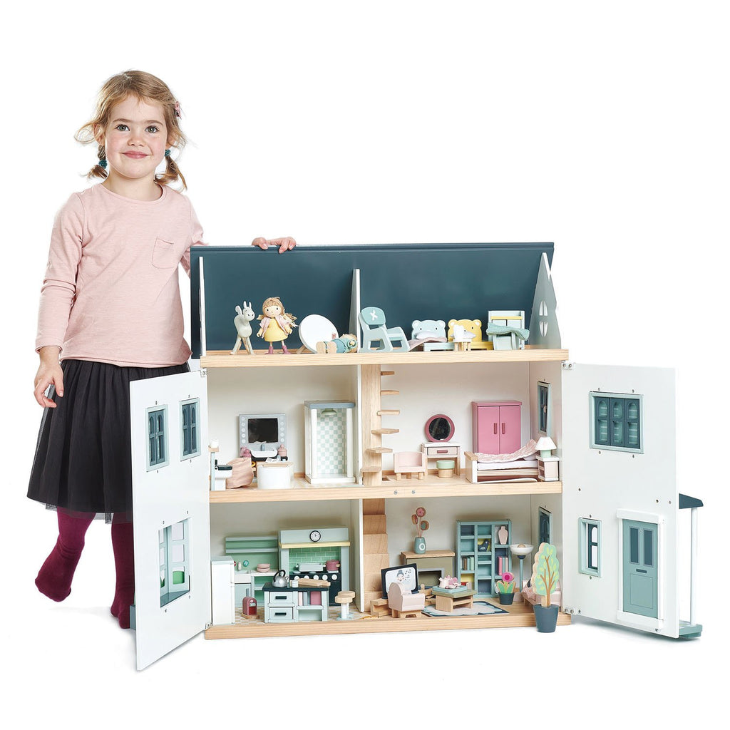 Tender Leaf Toys Wooden Dolls House sitting room furniture set with sofa, tv, bookshelf, and chair