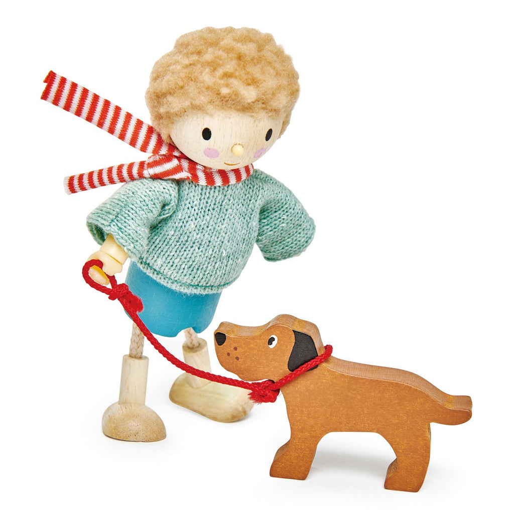 Tender Leaf Toys Wooden Dolls Mr Goodwood and his dog