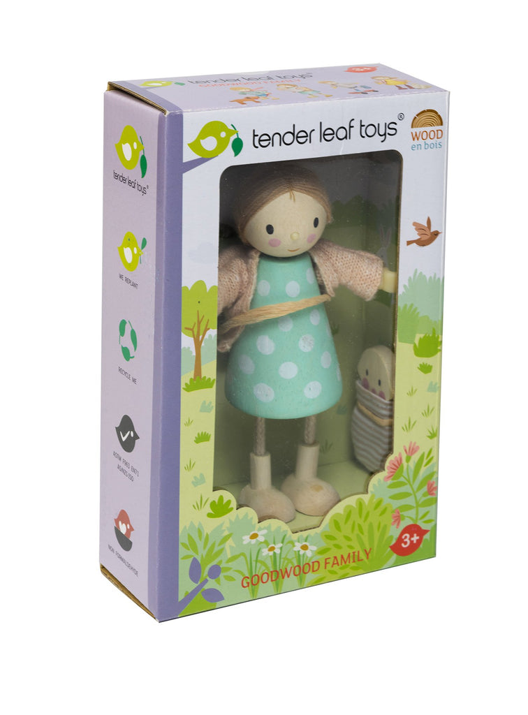 Tender Leaf Toys wooden doll Amy and her rabbit comes in an illustrated colour box