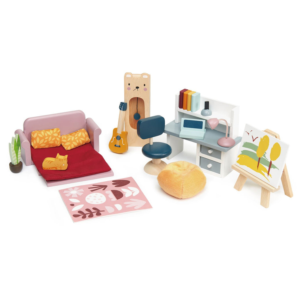 Tender Leaf Toys Wooden Dolls House study furniture set with sofa, clock, desk and computer